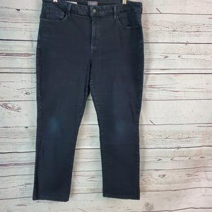 NYDJ  Marilyn Straight Lift Tuck Jeans Black 16W